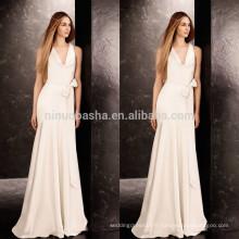 Robe de mariée à l'achat en Chine 2014 Robe de mariée en satin de satin pleine longueur drapée à encolure en V avec bandeau de longueur longue NB0756