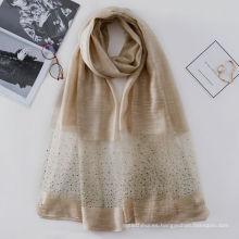 Sexy patrones brillantes de perforación mezclas de seda slilk lana señora india bufanda de seda