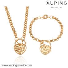 63195-Xuping 18k banhado a ouro conjunto de jóias de mulher com estilo de coração-forma