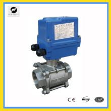 220V / 50HZ 1.6MPA DN32 1,25 pouce en acier inoxydable 2 voies robinet à tournant sphérique avec actionneur électrique