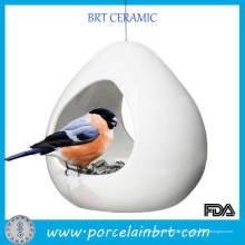 Mangeoire pour oiseaux en céramique blanche avec fil