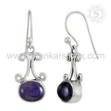 Splendid Amethyst Gemstone Earring 925 Sterling Silver Jóias Jóias Jaipur Handmade Online Silver Jewelry