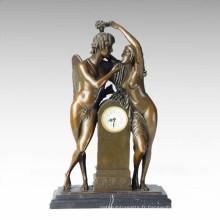 Statue de l'horloge Adam Eve Bell Bronze Sculpture Tpc-037