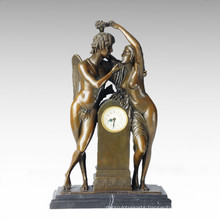 Clock Statue Adam Eve Bell Bronze Sculpture Tpc-037
