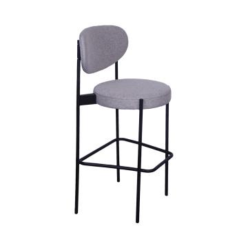 Silla de bar moderna de acero inoxidable con asiento de tela