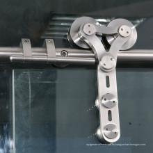 rollo sin marco de alta calidad de la puerta deslizante de los accesorios de la puerta de cristal del acero inoxidable