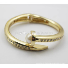 Real 18k gold plated Arrow Tapered big pearl Nail Cuff Bangle bracelet with crystal