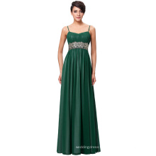 Kate Kasin Full-Length Spaghetti Straps Chiffon Long Dark Green Evening Prom Party Dress 8 Size US 2~16 KK000184-1