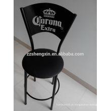 Corona Metal Backrest Bar Chair, Modern Fashionable Black Leather Bar Stool com Almofada