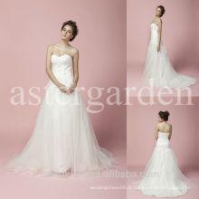Vestido de noiva sem alças tribunal tren sweetheart vestido de noiva de organza AS283