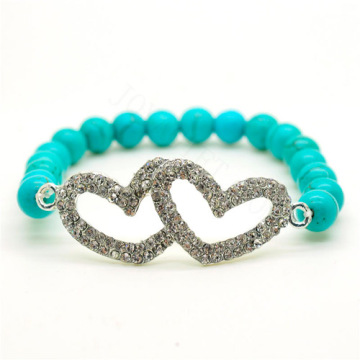 Turquoise 8MM Round Beads Stretch Gemstone Bracelet with Diamante Double heart Piece
