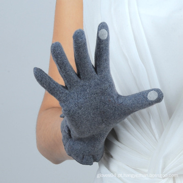 Botão design senhoras smart touchscreen luvas de lã com preço barato