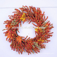 Rich Autumn Artificial Mixed Berry and Twig Wreath for Holiday and Home Decor