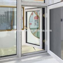 Grano de madera Hacia fuera oscilante Rotura térmica Aluminio 24 x 48 ventana abatible con pantalla de seguridad