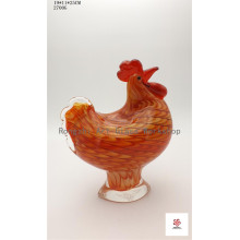 Orange Hen Glass Sculpture