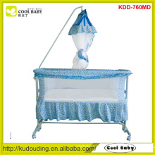 Cool-Baby Children Prodcuts Baby Swing Bed with Mosquito Net 4pcs wheels can be turned up Swing Crib