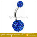 Anillos del botón del vientre de Shamballa del Rhinestone cristalino del acero quirúrgico