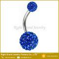 Anéis de umbigo de cristal de aço cirúrgico do Shamballa do cristal de rocha