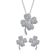 Ensemble pendentif et pendentif en forme de trèfle à quatre feuilles en argent 925