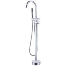 Grifo de ducha con caño de baño y montaje en suelo cilíndrico cromado