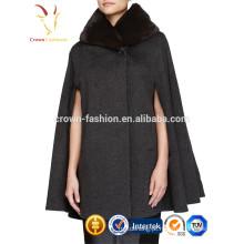 Melhor Preço 2016 Novo Design Senhoras De Inverno Cashmere Fur Moda Lenço De Lã Xaile