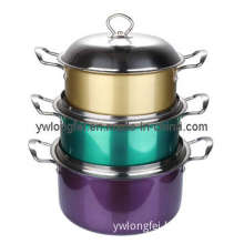 6PCS Colorful Stainless Steel Cooking Pot Set