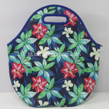 Bunga murni ritsleting Neoprene Lunch Tote Bag