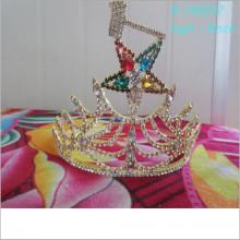 Vacaciones al por mayor de la corona de la cinco-estrella de la tiara de la belleza del oro de la manera