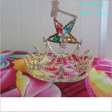 Wholesale fashion gold beauty tiara five-star crown holiday