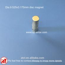 dia.9.525x3.175mm discos magnéticos / D3/8 x 1/ 8 pulgadas neodimio disco imán / neodimio redondo imán