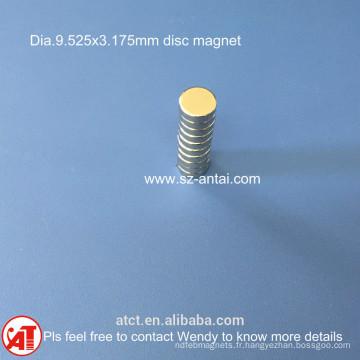 aimants de disque dia.9.525x3.175mm / D3/8 x 1/ 8 pouce néodyme disque aimant néodyme tour aimant /