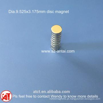 ímans de disco dia.9.525x3.175mm D3/8 x 1/ 8 polegadas de neodímio ímã de disco / / rodada de neodímio ímã