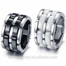 Atacado novo canal de design de jóias anel de cerâmica preta