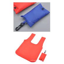 Saco de compras de dobramento promocional, sacola dobrável de poliéster (hbfb-63)