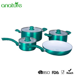 Rapid Delivery for for Pressed Aluminum Cookware,Pressed Aluminum Pizza Pan Manufacturers and Suppliers in China Green Pressed Creamic Customized 7Pcs Cookware Set export to Bermuda Exporter