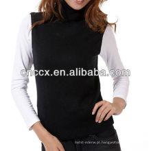 12STC0655 camisola das senhoras de gola alta sem mangas