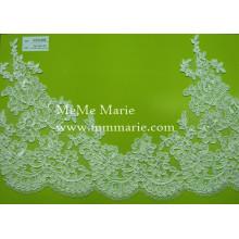 Белая кружевная ткань с цветочной отделкой Свадебные кружева ткани Свадебные вязаные кружева ткань CTC459