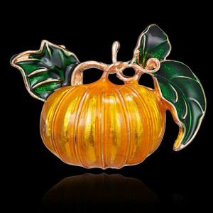 Aleación de cristal chapado en oro broches de calabaza de Halloween Broche