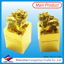 Chinesische Löwe Kindom Bild Gold Alloy Noble Award Trophy