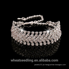 Atacado 925 pulseira de prata esterlina com cristal, pulseira de mulheres