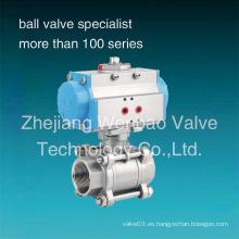 Actuador neumático de acero inoxidable 304 Válvula de bola de 3 PC