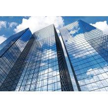 Mur rideau en verre sans cadre de construction commerciale et résidentielle