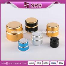 Golden rodada jarra de alumínio, 15g 20g 30g 50g 100g luxo de alumínio de ouro recipientes de cosméticos atacado