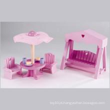 Móveis de jardim em miniatura de madeira rosa para crianças