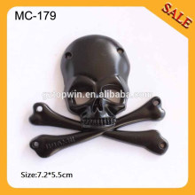 MC179 Fashion skull metal label for clothing,3D skeleton metal tags,metal logo labels