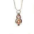 Peanut Shaped Pearl Beads Cage Locket Pendant Necklace