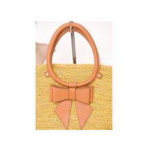 Autumn Yellow Raffia Handbags / Cowhide Handbags For Church