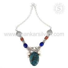 Collier en argent multi-gemme illustre en gros 925 bijoux en argent sterling bijoux indiens