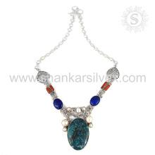 знаменитый мульти драгоценного камня серебряное ожерелье, оптовая 925 ювелирные изделия стерлингового серебра индийский ювелирные изделия