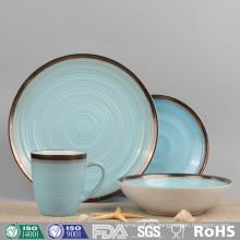Vajilla de cerámica esmaltada en color de diseño sencillo (conjunto)